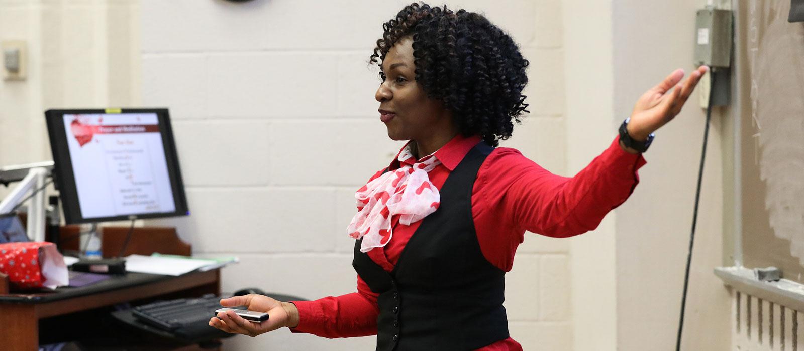Nursing instructor in classroom